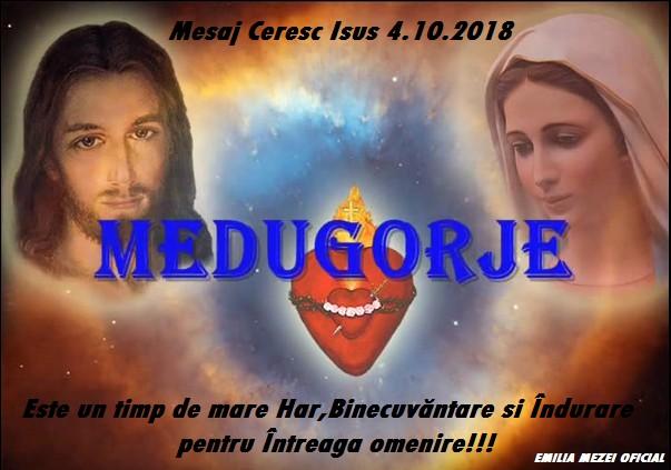 Mesaj Ceresc de la Isus în  Medjugorje 4 octombrie 2018