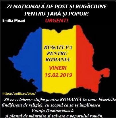 Propunem:Zi Natională de Post și Rugăciune pentru România 15.02.2019