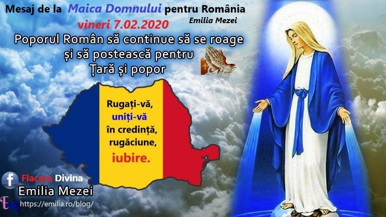 Mesaj de la Maica Domnului pentru România vineri 7.02.2020