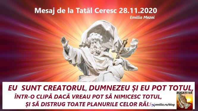 Mesaj de la Tatăl Ceresc 28.11.2020.IMPORTANT!