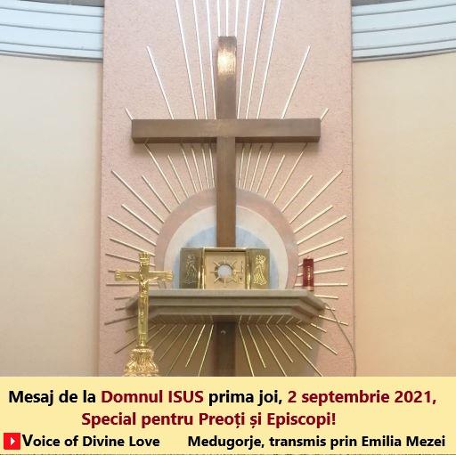 Mesaj de la Domnul Isus, prima joi, 2 septembrie 2021, Medugorje, transmis prin Emilia Mezei. Special pentru Episcopi,Preoți.