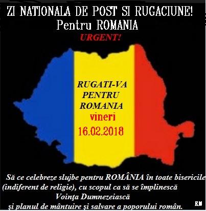 16. 02. 2018 Propunem:ZI NAȚIONALĂ DE POST ȘI RUGĂCIUNE pentru ROMĂNIA