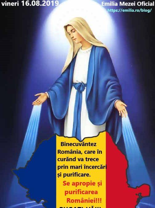 Mesaj Ceresc de la FECIOARA MARIA vineri 16.08.2019 Important pentru România!