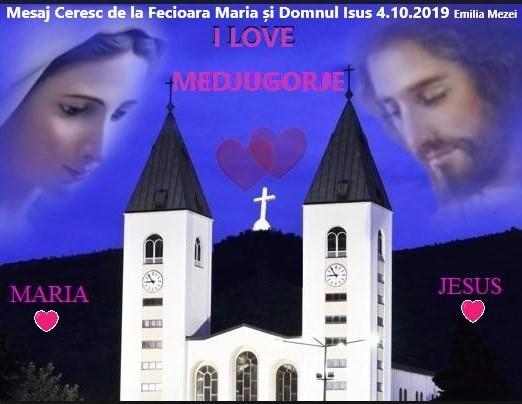 Mesaj Ceresc de la Domnul Isus și Fecioara Maria în Medjugorje 4 octombrie 2019