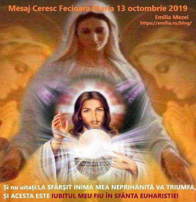Mesaj Ceresc de la Fecioara Maria duminică 13 octombrie 2019