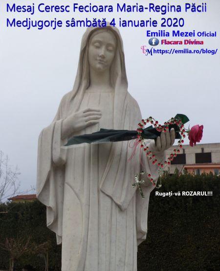 Mesaj Ceresc Fecioara Maria-Regina Păcii Medjugorje 4 ianuarie 2020. Important pentru România!