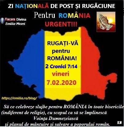 ZI NAȚIONALĂ DE POST ȘI RUGĂCIUNE PENTRU ȚARĂ ȘI POPOR 7 FEBRUARIE 2020