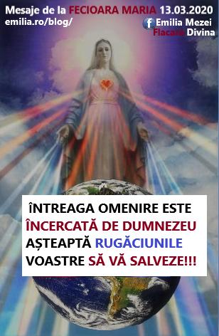 Mesaje de la Fecioara Maria vineri 13.03.2020