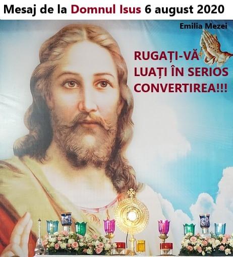 Mesaj de la Domnul Isus în prima joi 6 august 2020
