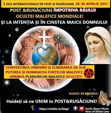 Mesaj Foarte Urgent de la Domnul  Isus, vineri 23.aprilie 2021,Medugorje- (3 ZILE INTERNAȚIONALE DE POST ȘI RUGĂCIUNE, 28-30 APRILIE 2021)