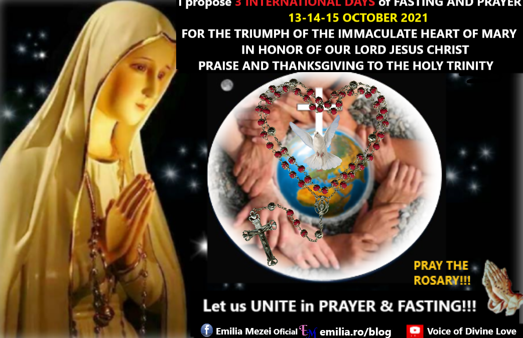THREE INTERNATIONAL DAYS OF FASTING (bread & water) PRAYER AND ATONEMENT: 13th,14th,15th OCTOBER 2021